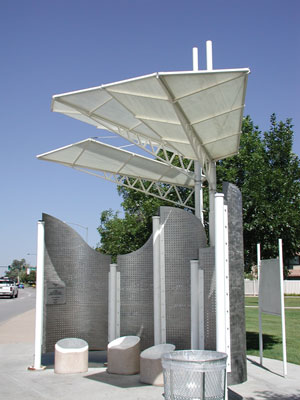 """Flight Ride"" Bus Shelter, Denver, Colorado, Rain Shelter/Wind Screen that Surrounds Benches."