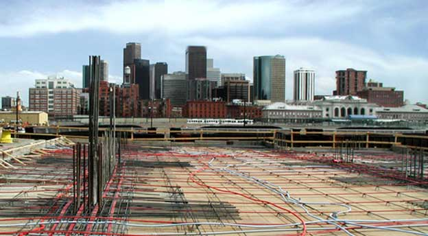 View of Downtown Denver from a post-tensioned concrete desk, The Manhattan, Central Platte Valley.