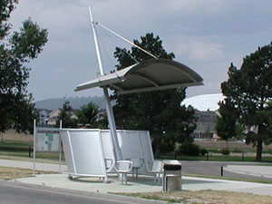 Bus Shelter, Colorado, Rain Shelter/Wind Screen that Surrounds Benches